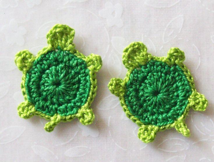 Crochet Turtle Appliques-Green. $3.00, via Etsy.