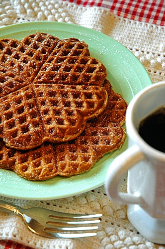 gingerbread waffles! I have a heart waffle maker, so this drew my ...