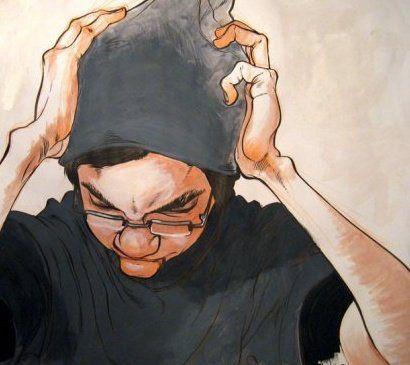 Dibujo manos expresivas sobre la cabeza