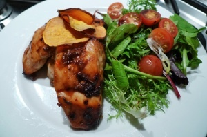 Sweet chilli chicken with sweet potato chips and salad