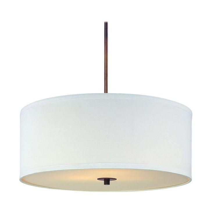 bronze drum pendant light with white shade