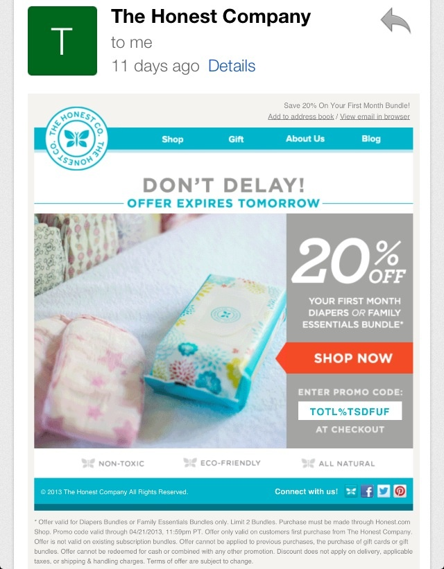 Honest company coupon code