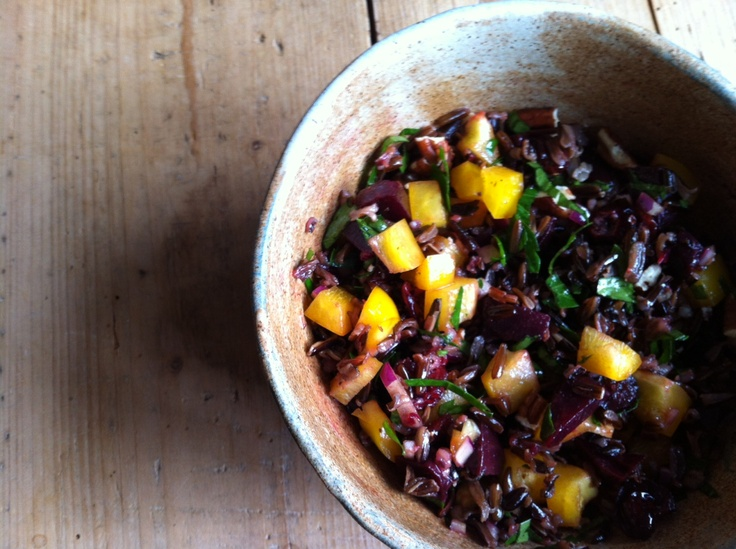 Wild rice, beetroot, cranberry and pecan salad from http ...