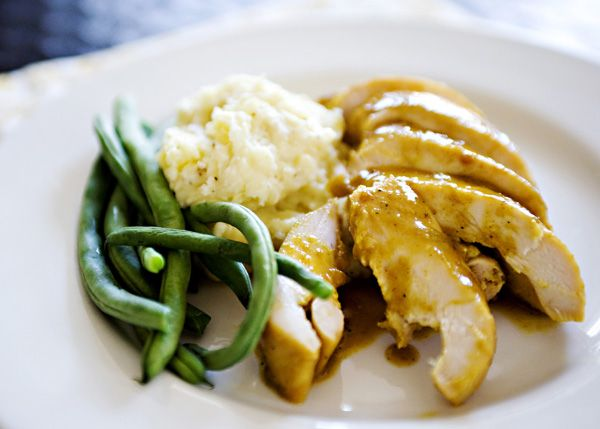 Overnight chicken...dijon mustard, curry powder, soy sauce, and honey ...