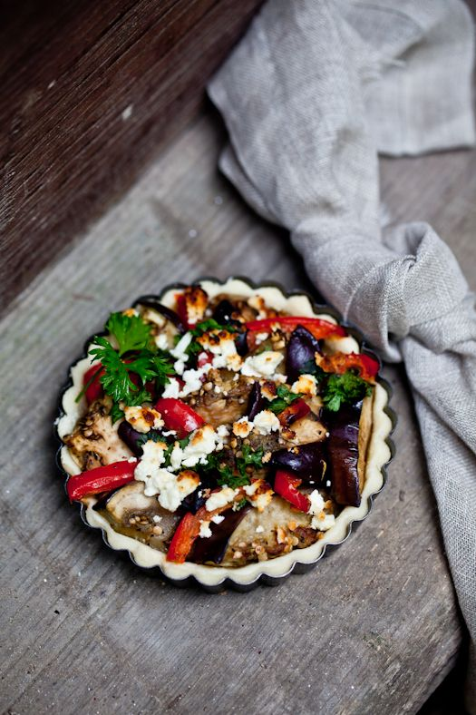 Ratatouille Tart...eggplant and baked goat cheese sounds delicious ...