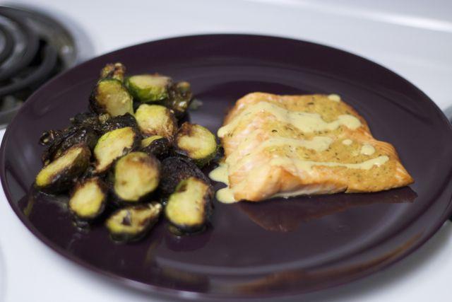 Weeknight Meal: Mustard Salmon & Crispy Brussels Sprouts