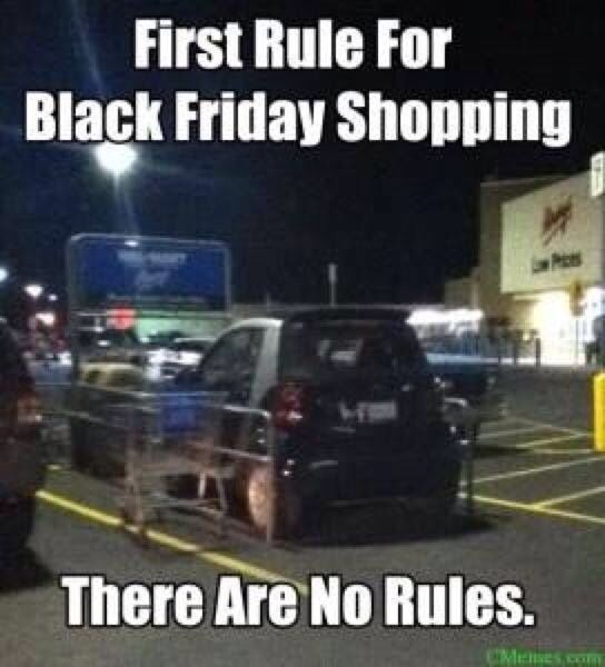 black friday smart car, black friday parking space, parking fail, parking in cart, black friday no rules