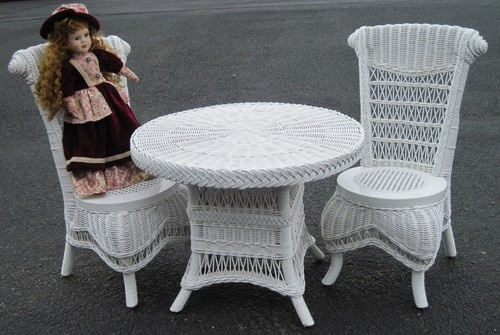 Children s victorian wicker tea set table and chairs white