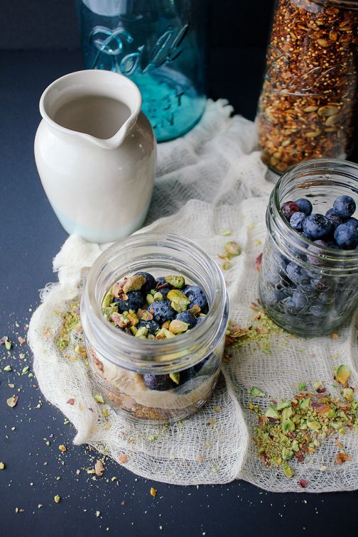 Blueberry Pistachio Parfait with Quinoa Granola and Maple Cashew Cream ...
