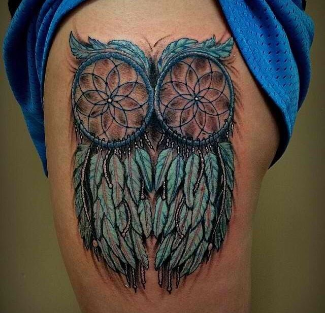 Owl feather dreamcatcher tattoo