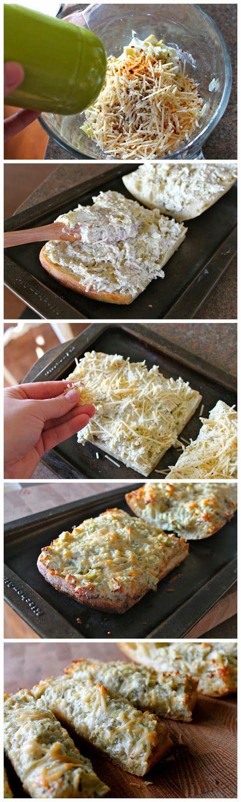 Start Recipes: Easy Artichoke Bread   Food   Pinterest