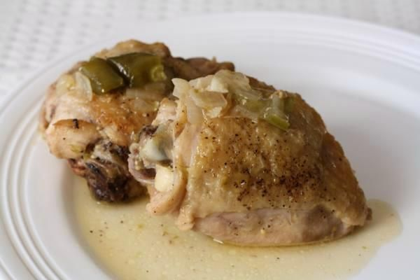 braised chicken with tomatillos and jalepenos