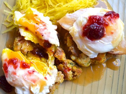 Thanksgiving Leftovers Eggs Benedict. All that is good and holy.