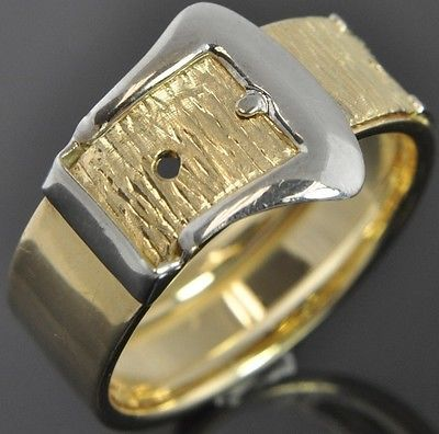 Clearance Italian Two Tone 14k Gold Textured Belt Buckle