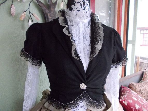 The Black Cameo Spencer: Steampunk Upcycled Bolero Jacket in Women's