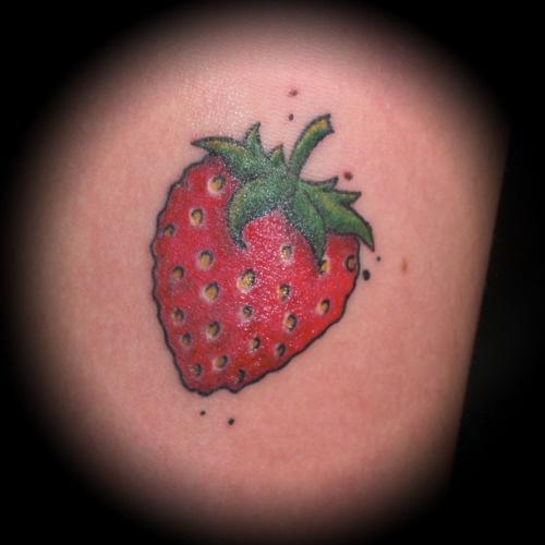 heart shaped strawaberry tattoo