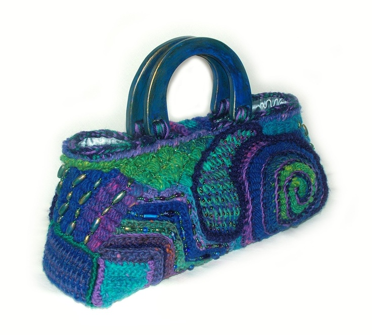 designer renate kirkpatrick-Handbag OOAK Freeform Crochet Bag Tote - Urban Blues. $240.00, via Etsy.