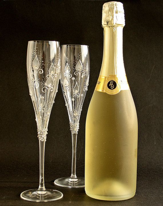 crystal champagne flutes hand painted gel crystal. Black Bedroom Furniture Sets. Home Design Ideas