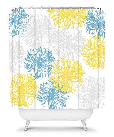 Blue Yellow Dandelions Shower Curtain