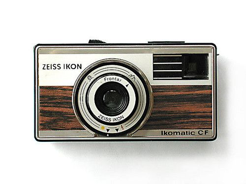 Vintage camera. Faux wood grain