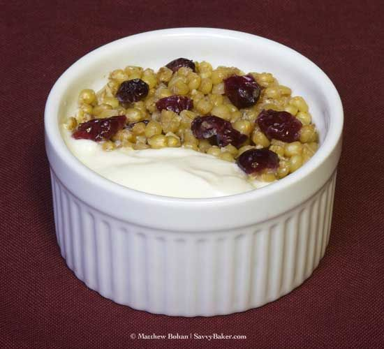 Wheat Berry Breakfast; with nuts, craisins and yogurt