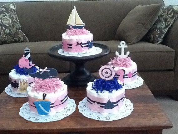 beach nautical girl sailing baby shower centerpiece diaper cakes other