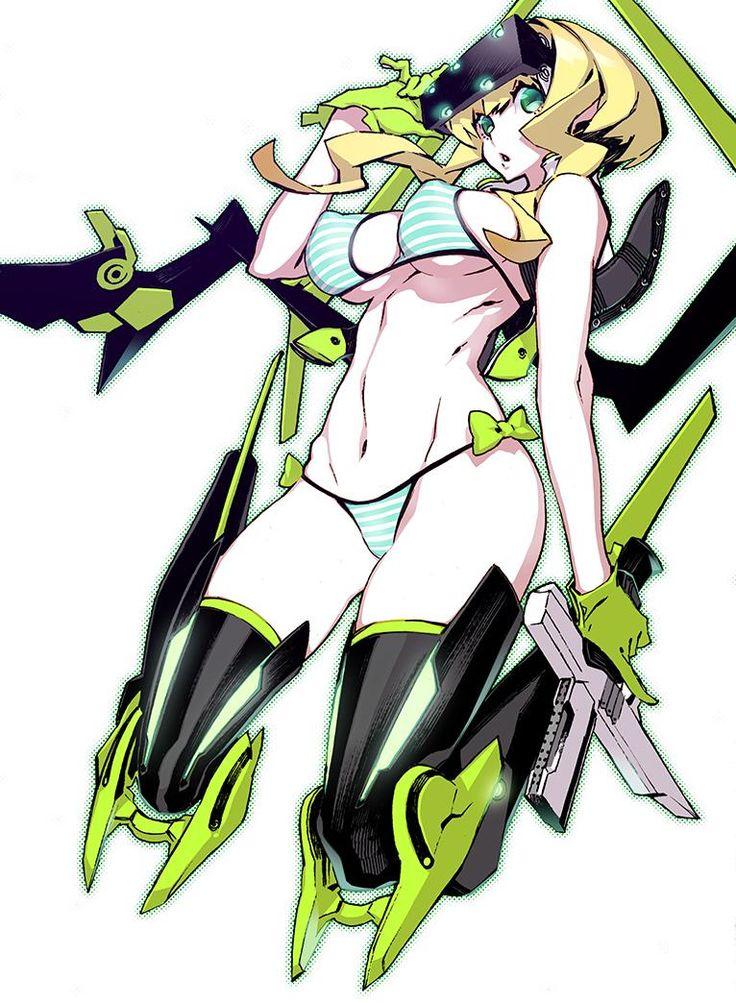 green_eyes green_gloves gun large_breasts miwa_shirou mound_of_venus