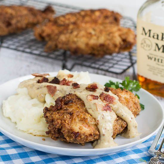 Pecan Chicken with Bourbon Maple Cream Gravy and Bacon