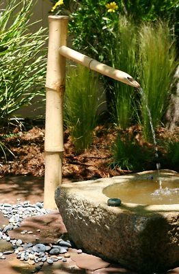 Bamboo 36 outdoor water fountain spout pump kit for Bamboo water feature