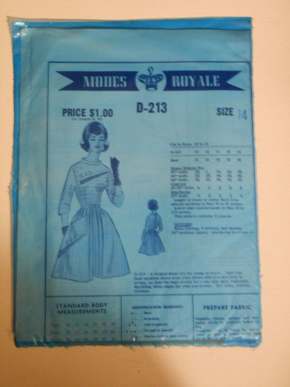 Vintage 50s 60s Dress Pattern Modes Royale D 213 by lisaanne1960, $30.00 (SO Airship hostess)