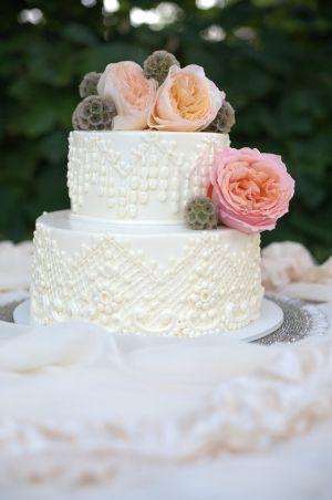 Classic Ivory Wedding Cake With Fresh Flowers By Beaverton Bakery