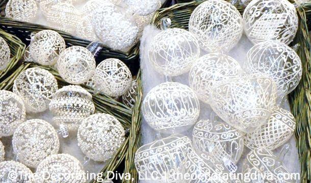 Delicate Glass Ornaments w/Lace | TheDecoratingDiva.com