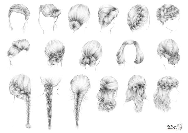 Simple Sketches of Hairstyles Braided Hairstyle Sketches