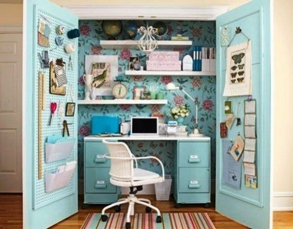 25 Great Home Office Decor Ideas. Space saving home office in guest room!