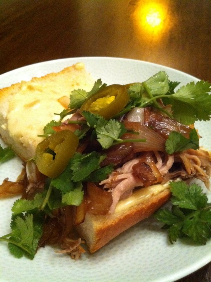 Paseo Pork Sandwich with Garlic Mayo, Caramelized Onions, Cilantro and ...