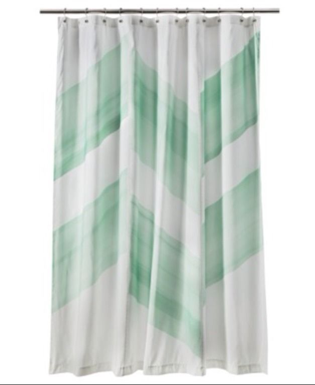 Nate Berkus Color Block Mint Green Shower Curtain New