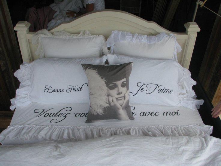 Shabby Chic Bedroom. Win this GORGEOUS handmade French Bedding!!