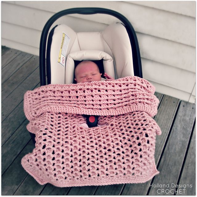 Free Crochet Pattern Baby Car Seat Cover : Reversible Car Seat Cover or Stroller Blanket pattern by ...