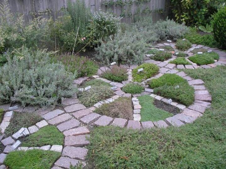 formal wagon wheel herb garden containing a mixture of