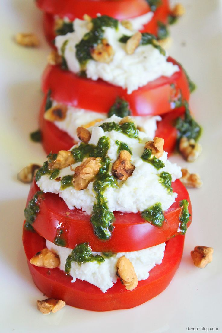 Tomato Goat Cheese Stacks with herb oil & walnuts. devour-blog.com