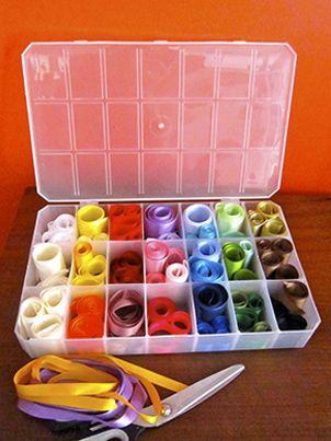 Como guardar pequenas quantidades de fita de um modo prático? - Clube de Artesanato