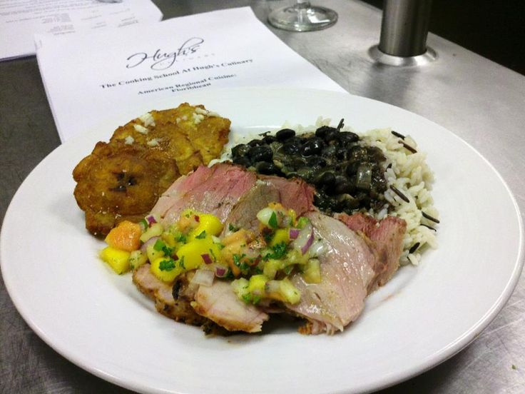 Cuban-style roasted pork loin topped with a tropical mango salsa ...
