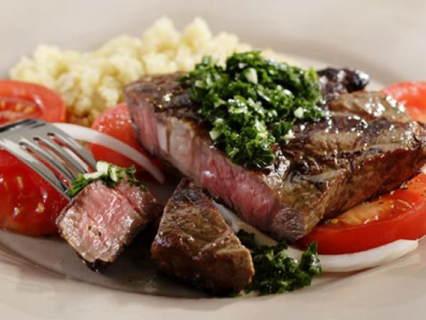 Grilled Rib-eye with Tomato Salad & Chimichurri Sauce | KitchenDaily ...