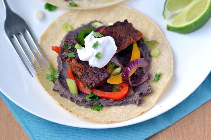 Sweet & Smoky Tempeh Fajitas (with Black Bean-Lime Dip) - Coconut and ...