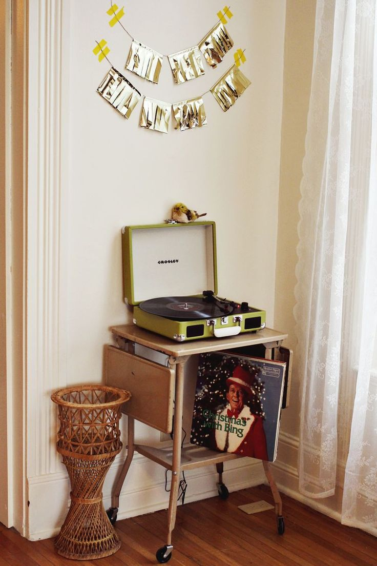 Holiday Record Corner via A Beautiful Mess