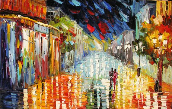 Love Vibration 36 x 23 Original Oil Painting Palette Knife Cityscape Night Town Couple Reflections Rainy by Marchella