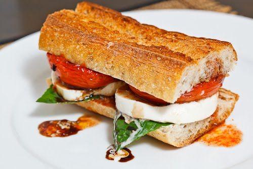 Balsamic Roasted Tomato Caprese Sandwich.