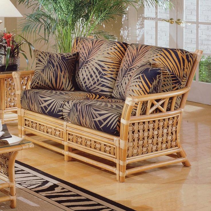 South Sea Rattan Wicker Furniture 3602 Tahiti Loveseat Antique