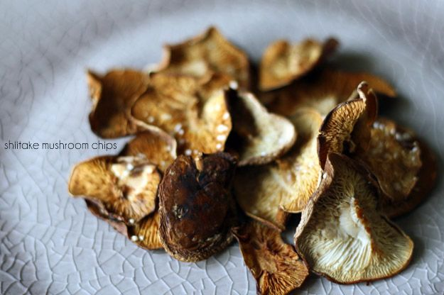 Crispy shiitake mushroom chips -- why have I not tried these before ...