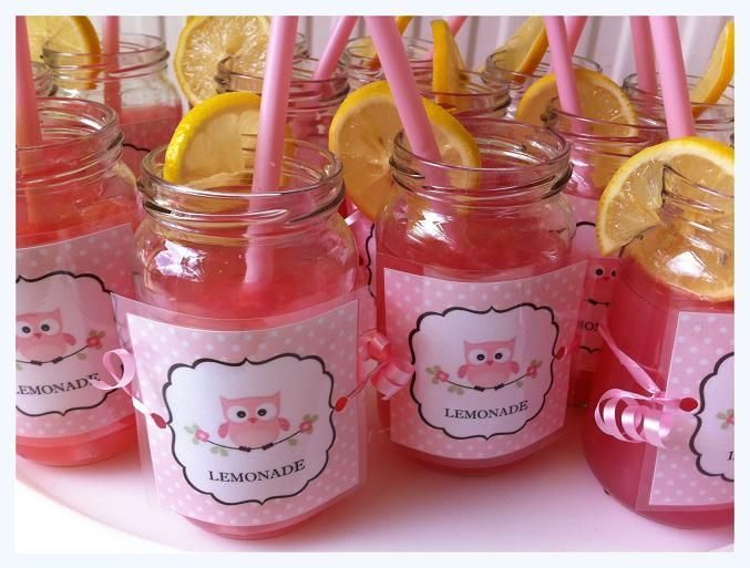 pink owl baby shower glass jar drinks baby shower ideas pintere